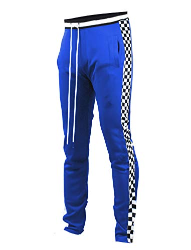 SCREENSHOTBRAND-P11854 Mens Hip Hop Premium Slim Fit Track Pants - Athletic Jogger Bottom with Side Checker Taping-Royal-Medium
