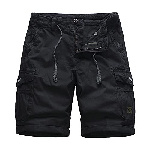 EMPERSTAR Pantalones Cortos Deportivos para Hombres Pantalones Cortos de Trabajo Informales de Verano Pantalones Cortos Tipo Cargo con múltiples Bolsillos y Cremallera Negro Size32