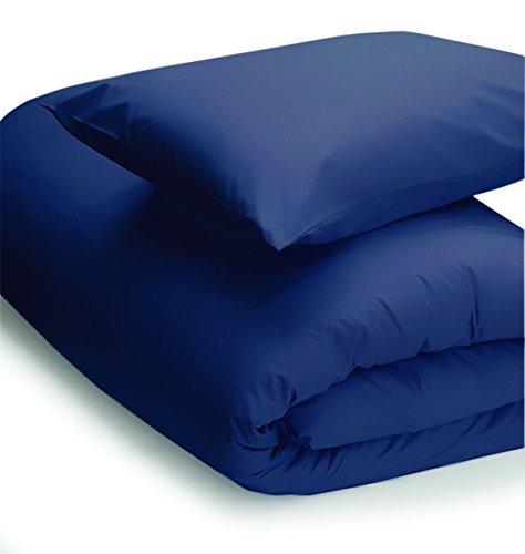 Parure de lit simple en polycoton 200 fils facile d'entretien Bleu marine