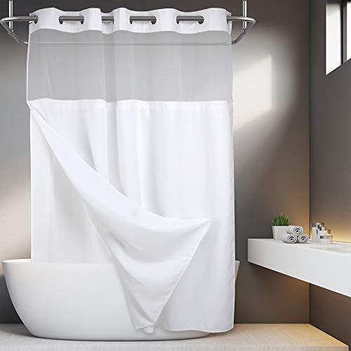 No Hooks Required Waffle Weave Shower Curtain with Snap in Liner - 71W x 74H,Hotel Grade,Spa Like Bath Curtain,White