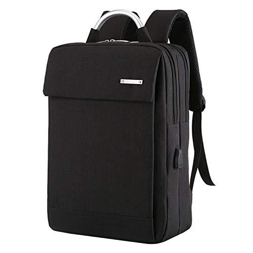 Laptop-Rucksack, USB-Ladegerät, 39,6 cm (15,6 Zoll), Diebstahlschutz, Schulranzen, Teenager, Mädchen, College, Reiserucksack, Schwarz - schwarz 2 - Größe: Einheitsgröße