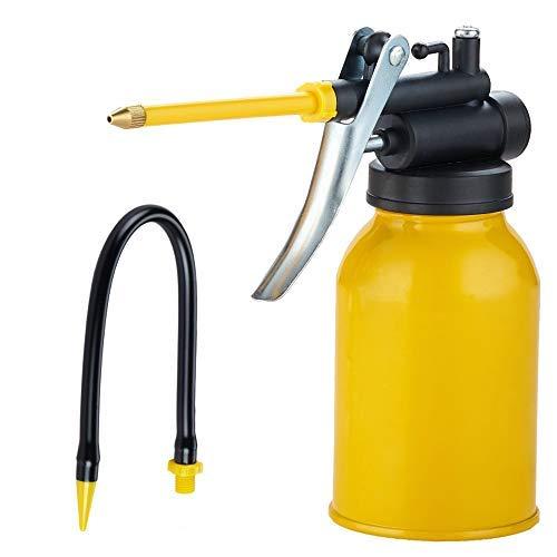Junchi Bomba de mano para aceitera, herramienta para latas, pistolas, jarrita de aceite con 2 salidas rectas y flexibles, capacidad de 300 ml