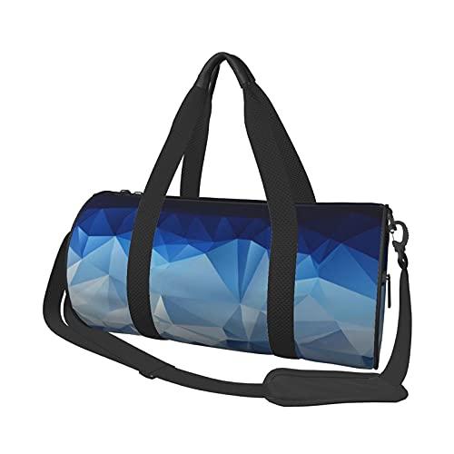 Bolsa de deporte para gimnasio, color azul degradado polígono redondo bolsa de viaje ligera con compartimento para zapatos y bolsillo húmedo para mujeres o hombres