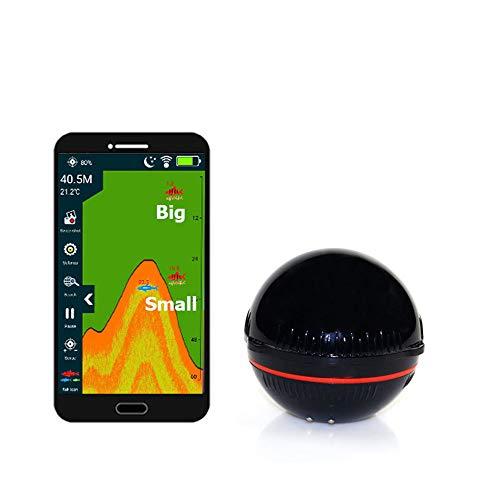 Wireless Bluetooth Smart Fischfinder, mit Fisch Attraktive Lampe, 147 Feet Wassertiefe Finder, für iOS und Android-Geräte, für Shore und Eisfischen,Schwarz
