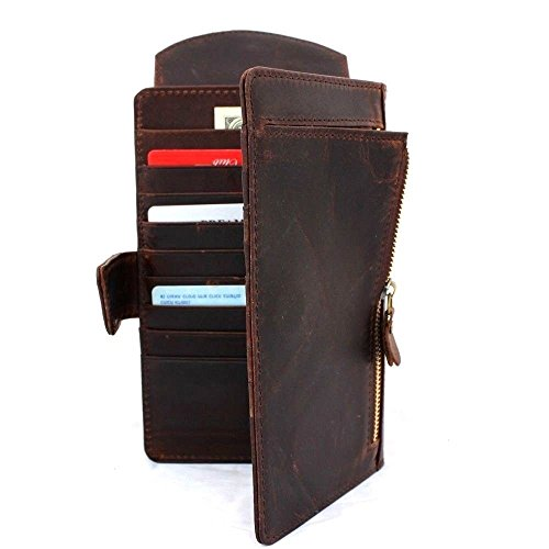 Genuine Leather Case for Samsung Galaxy s8 Plus S6 Edge HTC One M9 iPhone 6 Plus 7 Plus Multi Book Wallet Id Handmade Business Luxury Brown