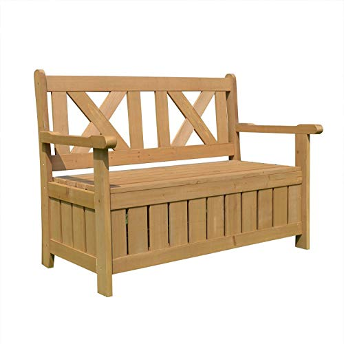 AIRWAVE Wooden Darcy 2 Seater Garden Storage Bench Seat
