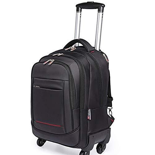 Unisex Laptop Rugzak, 18-inch converteerbare reistas op wielen of gestapelde bagage nylon waterdichte rollende rugzakken