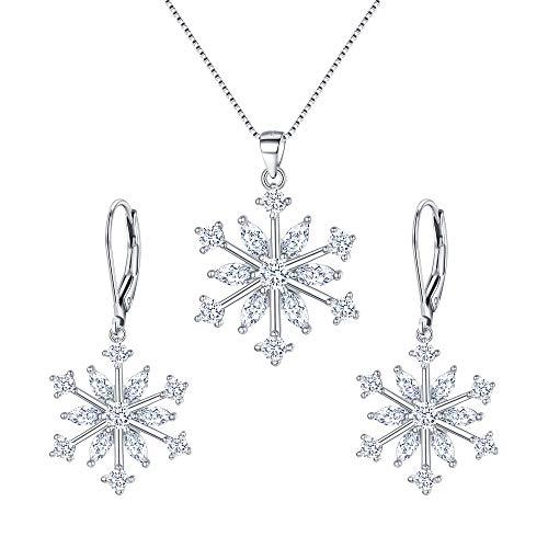 EVER FAITH Schneeflocke Schmuckset Sterling Silber Zirkon Winter Snow Weihnachten Halskette und Leverback Ohrringe Set