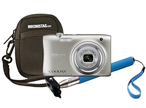 Nikon Coolpix A100, Gehäuse, Selfie-Stick Kompaktkamera 20,1 MP CCD 5152 x 3864 Pixel 1/2.3 Zoll Silber