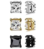 FOLENZU Pendientes de Clip de Cristal para Mujer para Hombre Pendientes magnéticos de circonita no perforante, Pendientes de botón magnéticos de Acero Inoxidable