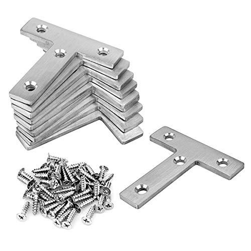Edelstahl Flachverbinder T Form Holzverbinder - MOUNTAIN_ARK 60x60 mm Reparaturplatte 10 Stücke Möbel Winkelverbinder für Schrank Tisch Stuhl, Flache Ecke Bracket