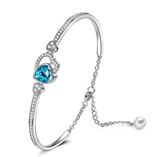 Kami Idea Pulsera para Mujer - Amor Verdadero - Regalo de Mejores Amigos, Pulsera con Cristales de Corazón Azul, Chapado en Oro Blanco, Cristales de Swarovski, Joyería para Pujer, Paquete de Regalo
