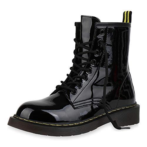 SCARPE VITA Damen Stiefeletten Worker Boots Profilsohle Stiefel Outdoor Schuhe 173514 Schwarz Lack...
