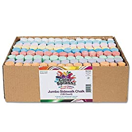 S&S Worldwide Color Splash! Giant Box of Sidewalk Chalk(Box of 126) 6 STURDY AND BREAK RESISTANT: Don't let broken chalk ruin playtime! Pieces are 4 inches in length and 1 inch in diameter, meaning Color Splash Chalk is large and durable enough to withstand any project. 126 JUMBO STICKS OF BOLD, COLORFUL CHALK: 14 pieces of each 9 colors – red, orange, yellow, green, blue, light blue, purple pink and white. DECORATE SIDEWALKS, PLAYGROUNDS AND DRIVEWAYS: Make your mark on the world by letting your art be displayed directly on it! Can also be used on chalkboard, walls and other surfaces, but is best for outdoor hard surfaces like pavement.