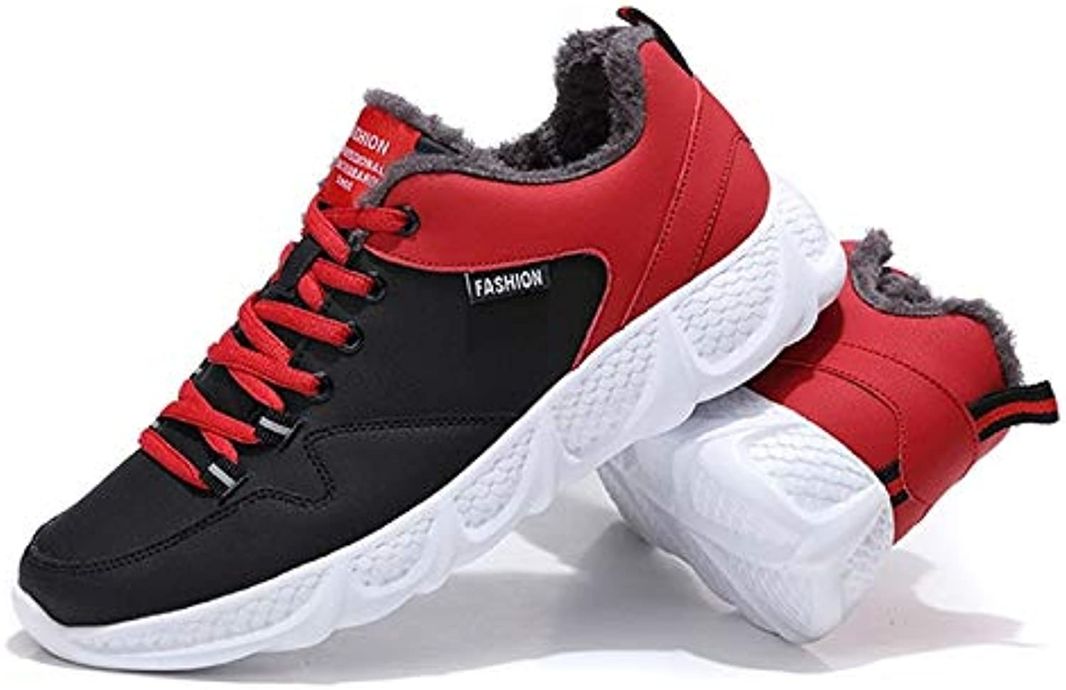 shoes for Men or Women hyx Lace-up Trend Outdoor Comfortable Casual Warm shoes, Size 38, color Black Red (color   Black Red)