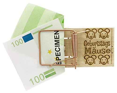 MIK Funshopping Geldgeschenk-Verpackung Mausefalle mit Spruch, witzige Geschenkidee zum Geburtstag, zur Hochzeit und zu Weihnachten (Geburtstags-Mäuse)