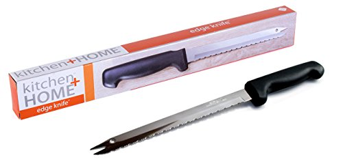 "Kitchen + Home Carving Bread Knife – 8"" Ultra Sharp Surgical Stainless Steel Serrated All Purpose Kitchen Knife – Never Needs Sharpening - As Seen on TV and Live Demonstration"