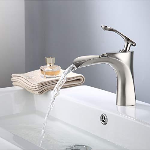 TIMACO Wasserhahn Bad Wasserfall Einhebel Bad Mischbatterie Bad Waschtischarmatur Waschbecken Badezimmer Armatur kalt und heiß Gebürsteter Nickel