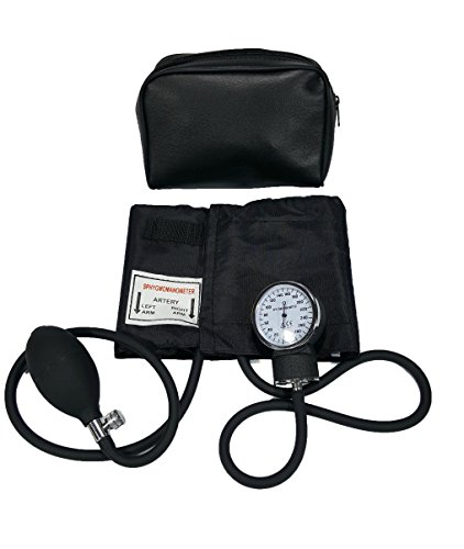 LINE2design Child Blood Pressure Cuff - Deluxe Aneroid Sphygmomanometer Cuff and Carrying Case Black