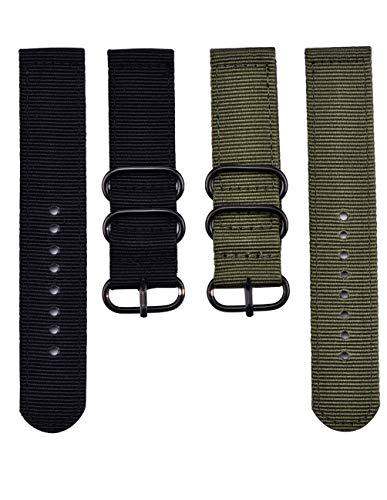 2 piezas de correas de reloj de repuesto hechas de nailon, verde militar y negro