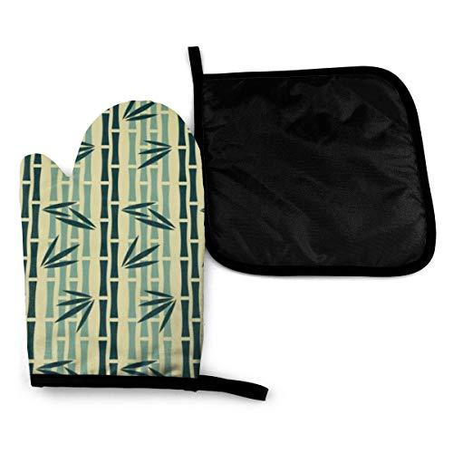 Rcivdkem Manoplas de patrón abstracto verde tallos de bambú antideslizante guantes de cocina con mantel individual para asar, barbacoa, cocina, hornear