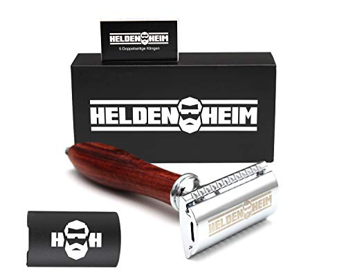 Heldenheim® H1 Rasierhobel Herren aus Holz mit 5 Wechselklingen, geschlossener Kamm | Nassrasierer...