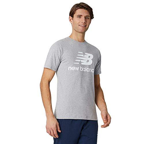New Balance Essentials Stacked Logo T-Shirt, Athletic Grey, XL Mens