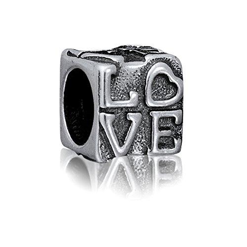 Andante-Stones - Original, Cuenta de Plata de Ley 925 sólida Amor, Vintage, Elemento Bola para Cuentas European Beads + Saco de Organza