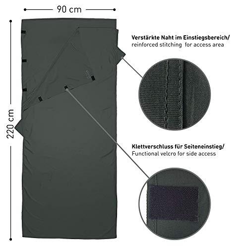 Fit-Flip Hüttenschlafsack Ultraleicht, Mikrofaser Schlafsack Inlay mit extra Kissenfach, Inlett Schlafsack seidig weich, Reiseschlafsack als auch Innenschlafsack, Anthrazitgrau