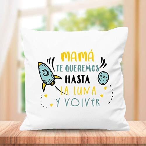 SUPER STICKER Cojín Cuadrado Personalizado, para el Mejor mamá del Mundo, Regalo día de la Madre, te Queremos hasta la Luna y Volver (m11)