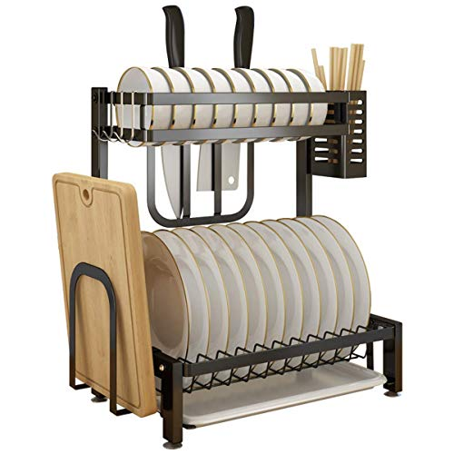 XYSQWZ Dish Rack with Stretchable Drip Tray, Stainless Steel Dish Drainer Plate Rack, 2 Tier Kitchen Cupboard Organiser, Removable Cutlery Cutting Board Wine Holder Plate Rack for Kitchen