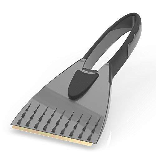 AUPROTEC Eiskratzer mit Messingklinge - 2K Eisschaber mit integriertem rutschfestem Softgriff - grau