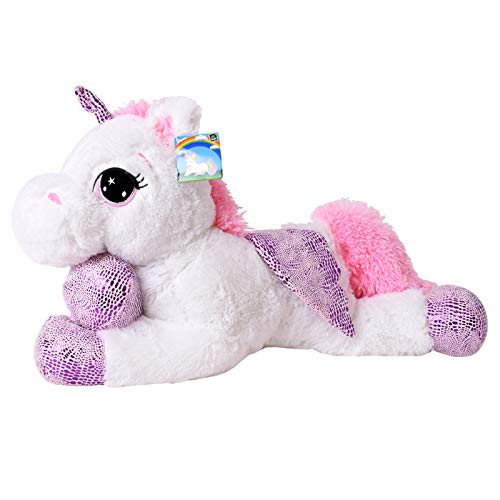 TE-Trend Cheval en Peluche Licorne Allongée 60cm Rose Ou Blanc avec Mauve Applications Et Aile - Blanc