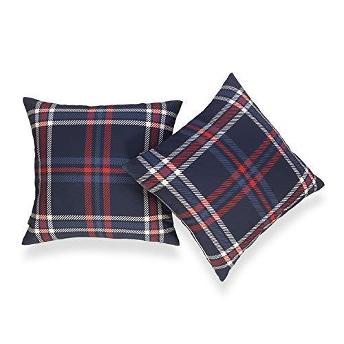 Hofdeco Deko-Kissenbezug, nur für Couch, Sofa, Bett, marineblau, kariert, 45,7 x 45,7 cm, 2 Stück