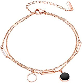 TOOGOO Simple Round Double Layer Design Geometric Circle Anklet Stainless Steel Gold Foot Chain