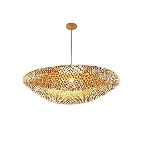 Hanamaki tropical de bambú de la lámpara, lámpara colgante Linterna de estilo retro pendiente de la luz Habitación Sala, bricolaje mimbre Rattan cortinas de la lámpara de la armadura de luz colgante