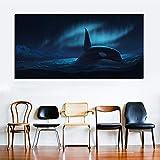 hetingyue Gran Aurora Boreal Pintura de Paisaje Sala de Ballenas Lienzo Mural impresión Cartel sin Marco Pintura 40x80 cm
