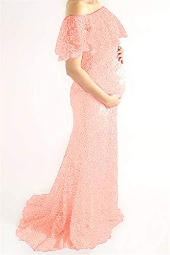 Vrouwen met capuchon Zwangere vrouwen met korte mouwen Jumpsuit Trailing kanten jurk Fotografie Block Pull-up (Color : Pink, Size : M)
