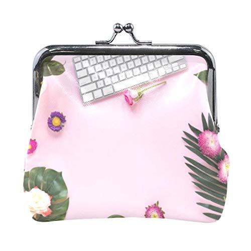 Kleurrijke Bloemen Toetsenbord Roze Achtergrond Muntentas Koppeling Kleine Buidelzak Portemonnee Cash Bag Card Change Houder
