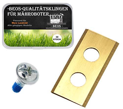 - BEOS - 30 x PREMIUM TITAN Ersatzmesser + Schrauben mit Sicherung - Ersatzklingen für Premiummarken Worx, LandXcape, Zoef Robot, Einhell, Kress – 0,9 mm Blattstärke für langes Rasenmäher Vergnügen -