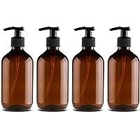Neborn 4Pcs 500ml Botellas de dispensador de jabón Botellas de Bomba rellenables para dispensar lociones Champús (A)