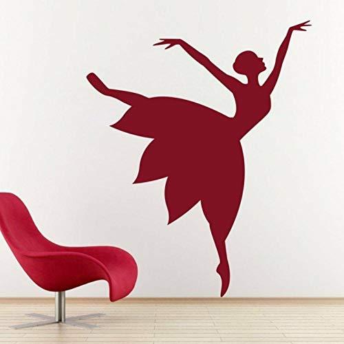 KBIASD Dancer Girl Wall Sticker Mural Dress Silhouette Moon Light Dance Design Home Decor for Girls Room Artist Studio Vinyl Decal 57x69 cm