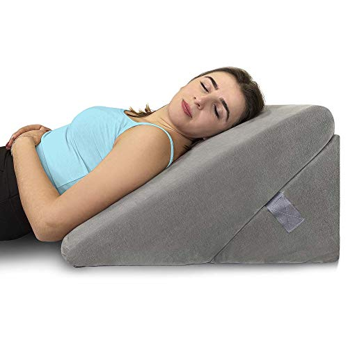 Healthex Bed Wedge Pillow - Memory Foam Top Adjustable 9&12 inch Folding Incline Cushion, for Legs and Back Support Pillow, Acid Reflux, Heartburn, Allergies, Snoring, Reading- Soft Washable Cover