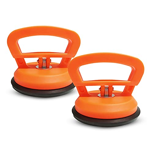 LdawyDE ventosas para cristal, 2 Ventosas de vidrio ventosa para coche abolladuras, Fácil de usar, fuerte capacidad de carga para garajes fábricas para vidrio baldosas de cerámica (D: 120 mm, naranja)
