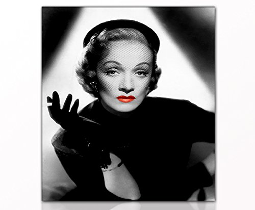 Berger Designs - Modernes Wandbild Marlene Dietrich 40x50cm auf Leinwand & Holzkeilrahmen - Beste Qualität, handgefertigt in Deutschland! (Marlene Dietrich 40x50 cm)