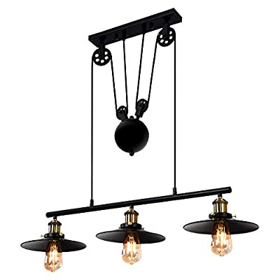 Hers home 3-Light Pulley Kitchen Island Pendant Light, Industrial Lighting Fixture Hanging for Dining Room Pool Table,Oil Rubbed Bronze/Bronze(3 40W E26 Bulbs Included)