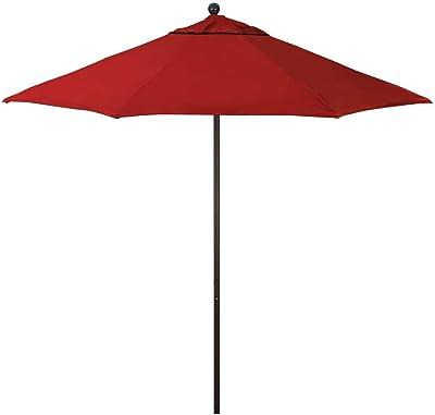 California Umbrella ALTO908170-SA40 9' Round Aluminum/Fiberglass Umbrella, Pacifica Brick Fabric