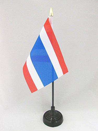 AZ FLAG TISCHFLAGGE Thailand 15x10cm goldene splitze - THAILÄNDISCHE TISCHFAHNE 10 x 15 cm - flaggen