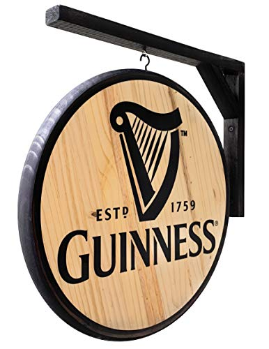 Guinness Sign - Classic 15 inch Dia, Double-Sided Pub Sign - Includes Wood Hanging Bracket - Indoor USE ONLY