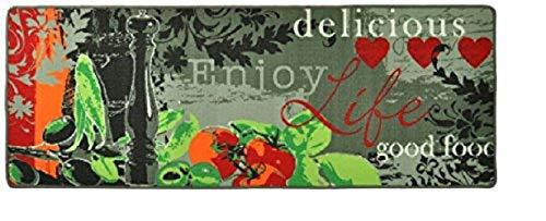Keukenloper, keukenmat, decoratieve loper voor keuken en bar, tapijt, loper, keukenloper, keukendecoratie, model Enjoy, Delicious, live, good food, zout en peper, peper, pepermolen, olijf, tomaat basilicum, grijs, afmetingen ca. 67 x 180 cm.